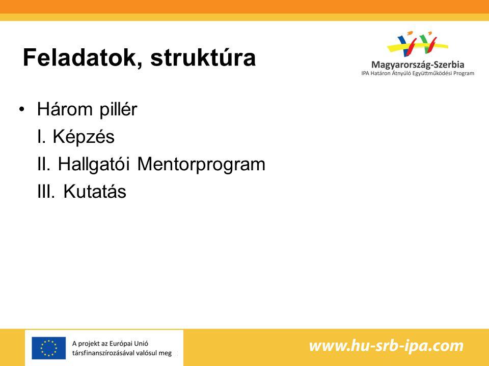 Feladatok, struktúra Három pillér I. Képzés II. Hallgatói Mentorprogram III. Kutatás