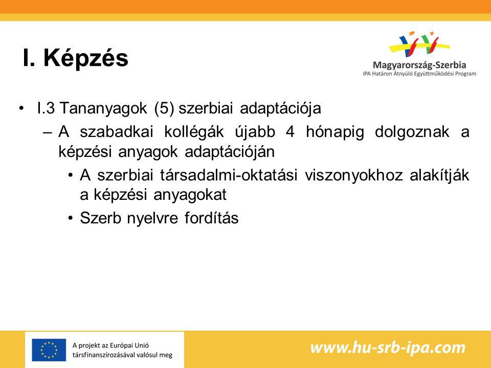 I. Képzés I.3 Tananyagok (5) szerbiai adaptációja –A szabadkai kollégák újabb 4 hónapig dolgoznak a képzési anyagok adaptációján A szerbiai társadalmi