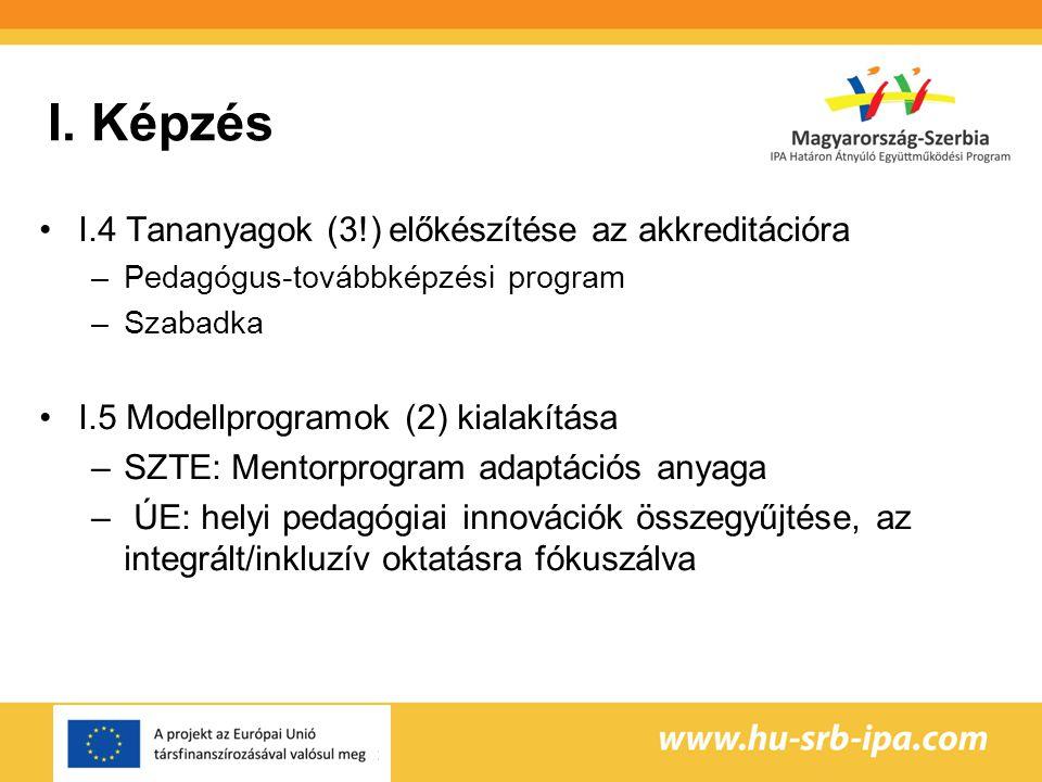 I. Képzés I.4 Tananyagok (3!) előkészítése az akkreditációra –Pedagógus-továbbképzési program –Szabadka I.5 Modellprogramok (2) kialakítása –SZTE: Men