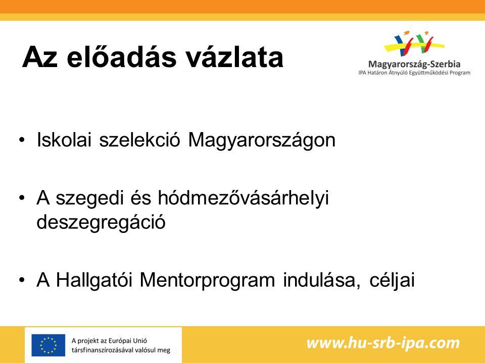 Az előadás vázlata Iskolai szelekció Magyarországon A szegedi és hódmezővásárhelyi deszegregáció A Hallgatói Mentorprogram indulása, céljai