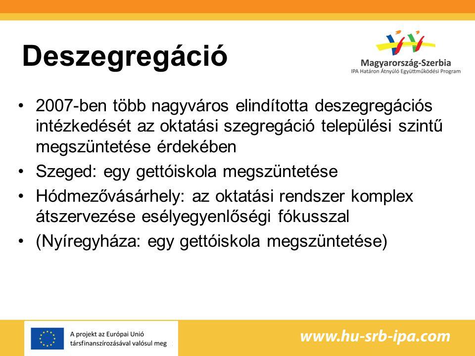 Deszegregáció 2007-ben több nagyváros elindította deszegregációs intézkedését az oktatási szegregáció települési szintű megszüntetése érdekében Szeged: egy gettóiskola megszüntetése Hódmezővásárhely: az oktatási rendszer komplex átszervezése esélyegyenlőségi fókusszal (Nyíregyháza: egy gettóiskola megszüntetése)