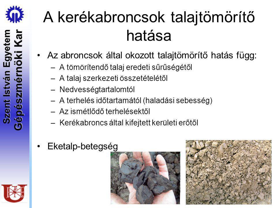 Szent István Egyetem Gépészmérnöki Kar A kerékabroncsok talajtömörítő hatása Az abroncsok által okozott talajtömörítő hatás függ: –A tömörítendő talaj