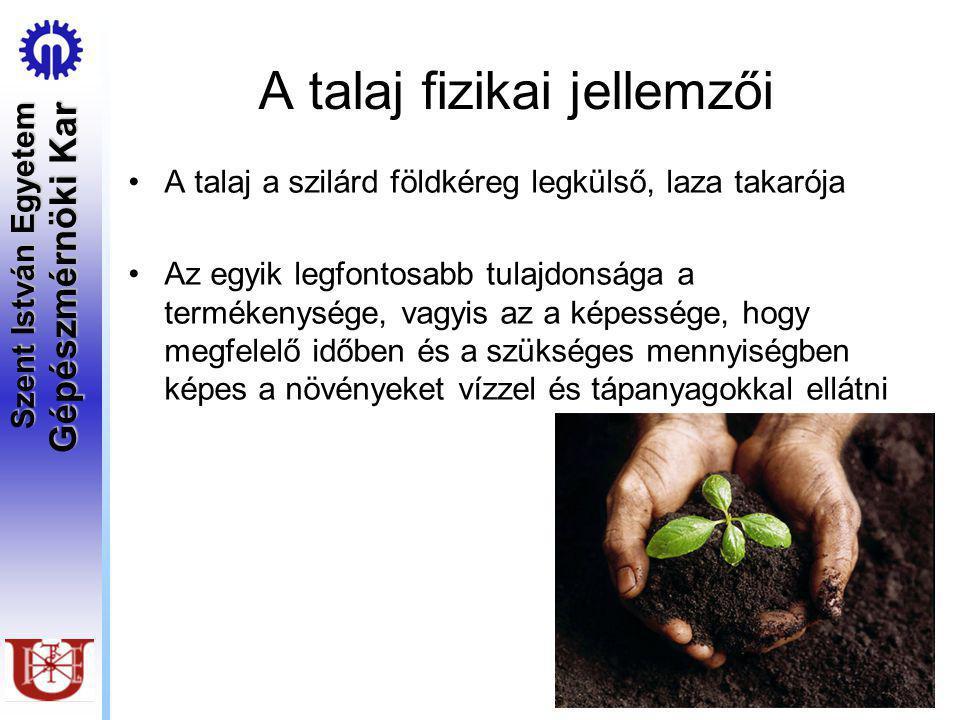 Szent István Egyetem Gépészmérnöki Kar A talaj fizikai jellemzői A talaj a szilárd földkéreg legkülső, laza takarója Az egyik legfontosabb tulajdonsága a termékenysége, vagyis az a képessége, hogy megfelelő időben és a szükséges mennyiségben képes a növényeket vízzel és tápanyagokkal ellátni