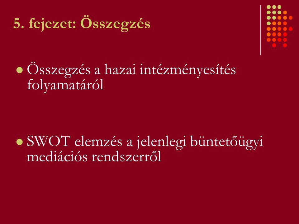 5. fejezet: Összegzés Összegzés a hazai intézményesítés folyamatáról SWOT elemzés a jelenlegi büntetőügyi mediációs rendszerről