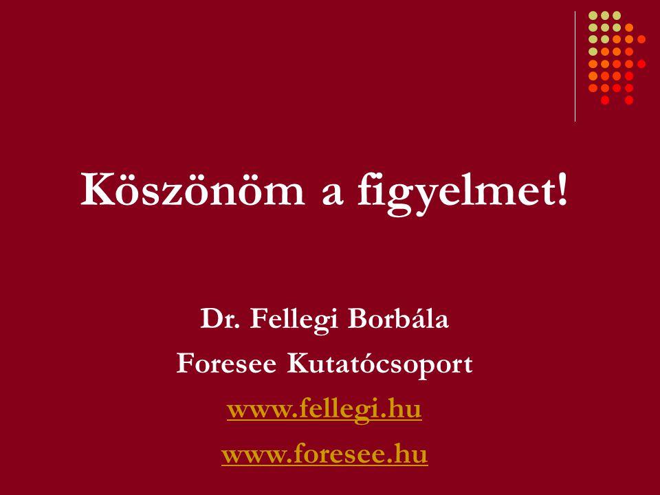 Köszönöm a figyelmet! Dr. Fellegi Borbála Foresee Kutatócsoport www.fellegi.hu www.foresee.hu