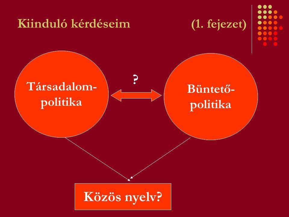 Kiinduló kérdéseim (1. fejezet) Társadalom- politika Büntető- politika Közös nyelv? ?