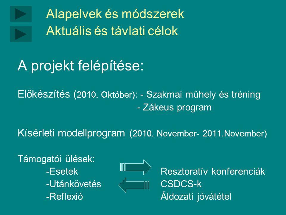 Alapelvek és módszerek Aktuális és távlati célok A projekt felépítése: Előkészítés ( 2010.