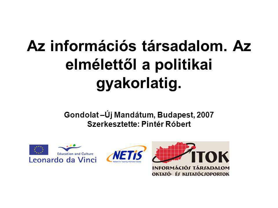 Az információs társadalom. Az elmélettől a politikai gyakorlatig. Gondolat –Új Mandátum, Budapest, 2007 Szerkesztette: Pintér Róbert