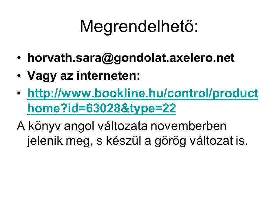 Megrendelhető: horvath.sara@gondolat.axelero.net Vagy az interneten: http://www.bookline.hu/control/product home?id=63028&type=22http://www.bookline.h
