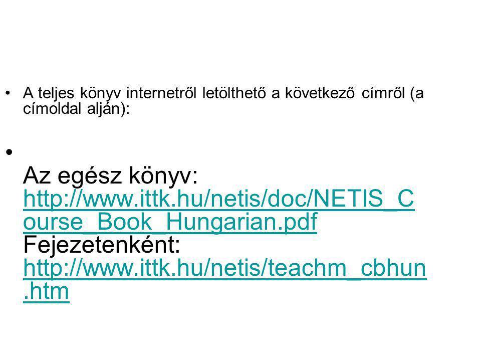 A teljes könyv internetről letölthető a következő címről (a címoldal alján): Az egész könyv: http://www.ittk.hu/netis/doc/NETIS_C ourse_Book_Hungarian