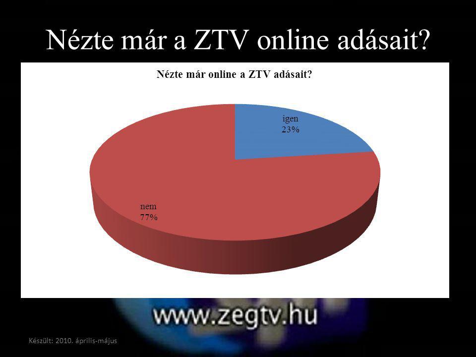 Nézte már a ZTV online adásait? Készült: 2010. április-május