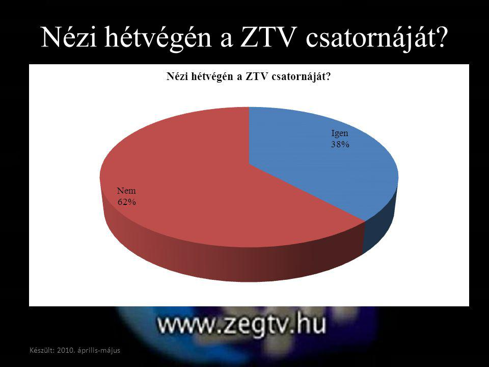 Nézi hétvégén a ZTV csatornáját? Készült: 2010. április-május