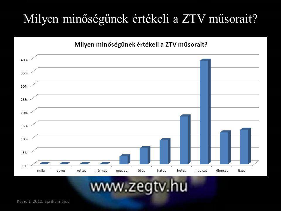 Milyen minőségűnek értékeli a ZTV műsorait? Készült: 2010. április-május