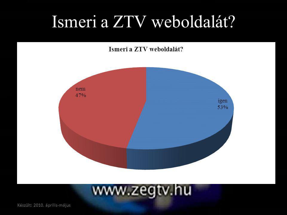 Ismeri a ZTV weboldalát? Készült: 2010. április-május
