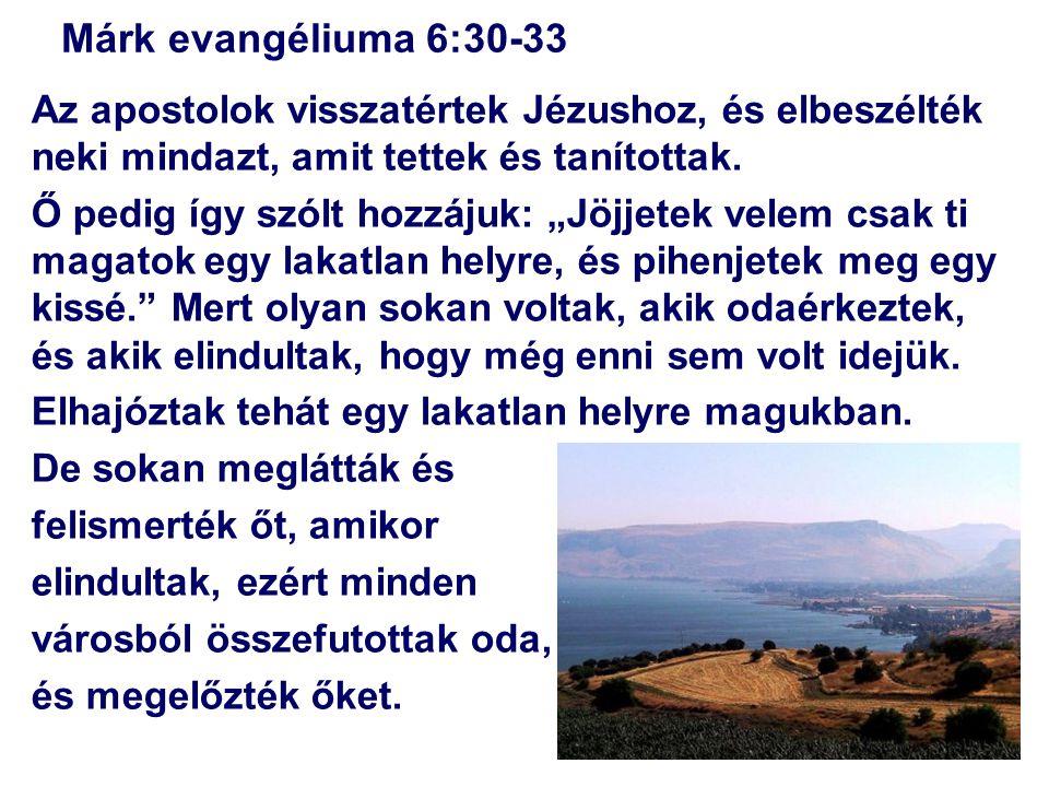 """Márk evangéliuma 6:30-33 Az apostolok visszatértek Jézushoz, és elbeszélték neki mindazt, amit tettek és tanítottak. Ő pedig így szólt hozzájuk: """"Jöjj"""