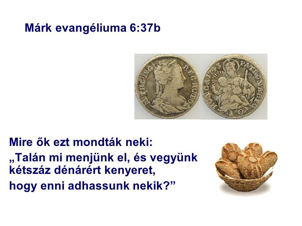 """Márk evangéliuma 6:37b Mire ők ezt mondták neki: """"Talán mi menjünk el, és vegyünk kétszáz dénárért kenyeret, hogy enni adhassunk nekik?"""""""