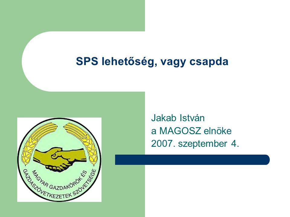 SPS lehetőség, vagy csapda Jakab István a MAGOSZ elnöke 2007. szeptember 4.