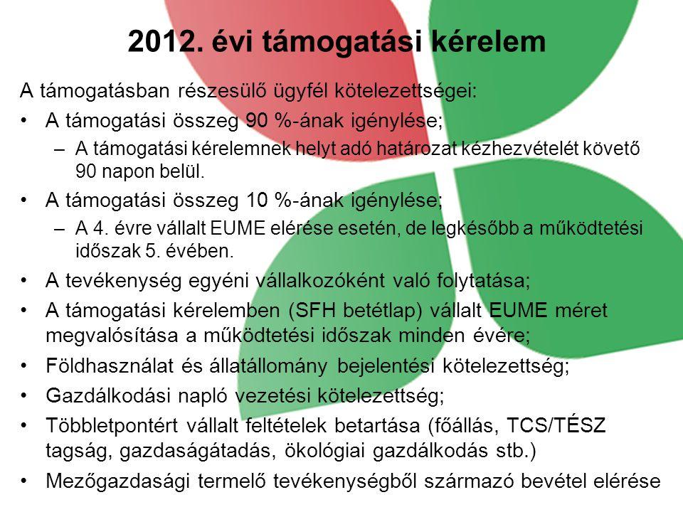 2012. évi támogatási kérelem A támogatásban részesülő ügyfél kötelezettségei: A támogatási összeg 90 %-ának igénylése; –A támogatási kérelemnek helyt