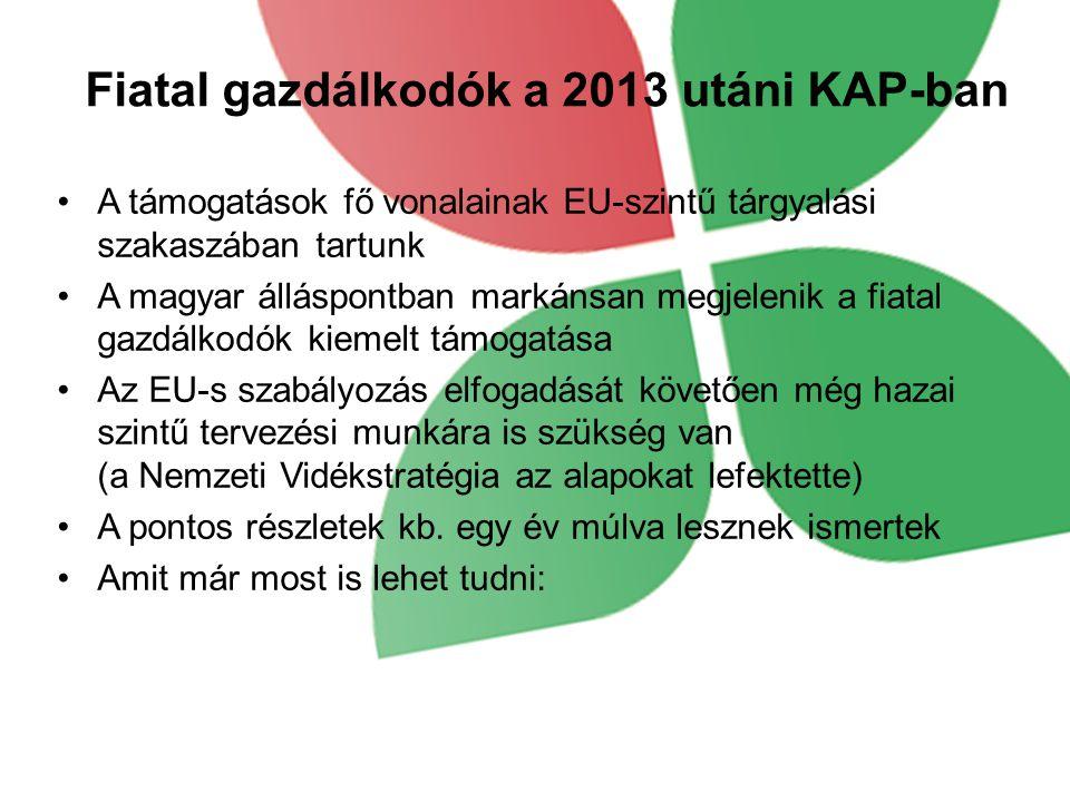 Fiatal gazdálkodók a 2013 utáni KAP-ban A támogatások fő vonalainak EU-szintű tárgyalási szakaszában tartunk A magyar álláspontban markánsan megjeleni