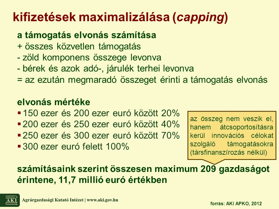 kifizetések maximalizálása (capping) a támogatás elvonás számítása + összes közvetlen támogatás - zöld komponens összege levonva - bérek és azok adó-,
