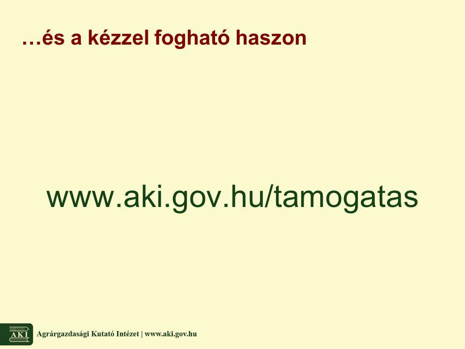 …és a kézzel fogható haszon www.aki.gov.hu/tamogatas