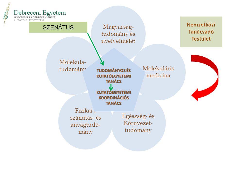 Molekula- tudomány Fizikai-, számítás- és anyagtudo- mány Egészség- és Környezet- tudomány Molekuláris medicina Magyarság- tudomány és nyelvelmélet Nemzetközi Tanácsadó Testület TUDOMÁNYOS ÉS KUTATÓEGYETEMI TANÁCS KUTATÓEGYETEMI KOORDINÁCIÓS TANÁCS SZENÁTUS