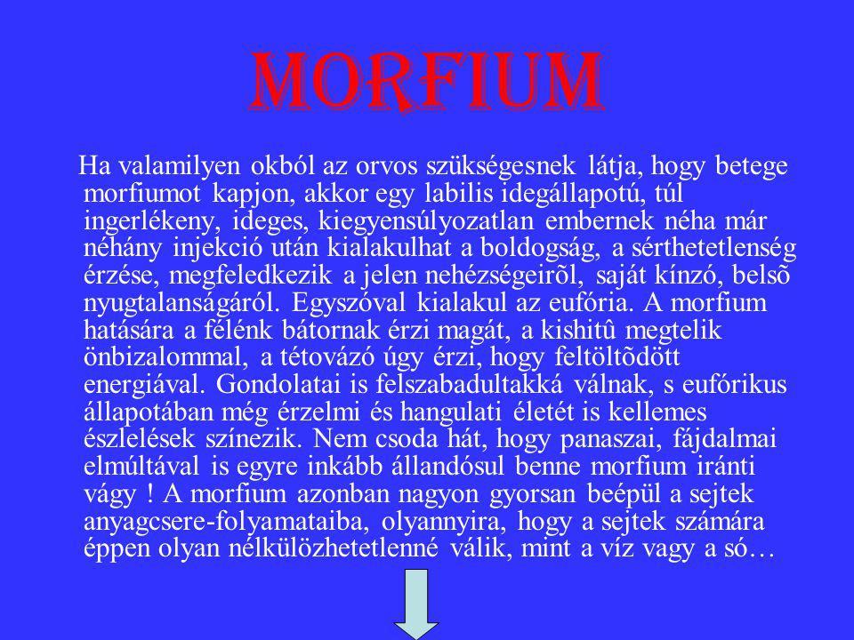 morfium Ha valamilyen okból az orvos szükségesnek látja, hogy betege morfiumot kapjon, akkor egy labilis idegállapotú, túl ingerlékeny, ideges, kiegyensúlyozatlan embernek néha már néhány injekció után kialakulhat a boldogság, a sérthetetlenség érzése, megfeledkezik a jelen nehézségeirõl, saját kínzó, belsõ nyugtalanságáról.