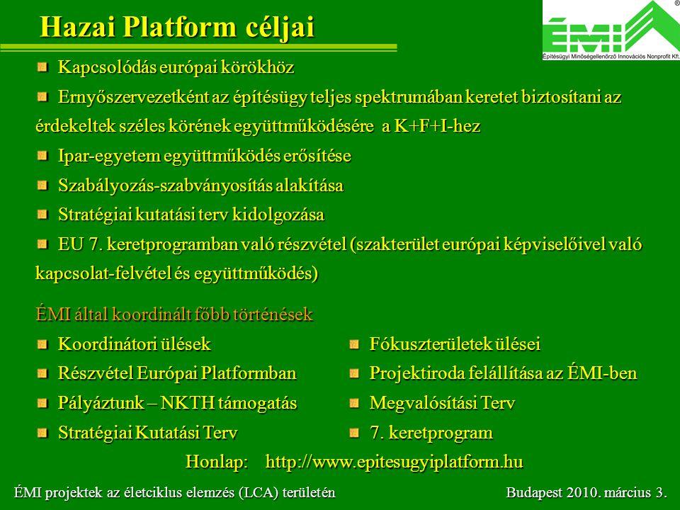 Hazai Platform céljai Kapcsolódás európai körökhöz Kapcsolódás európai körökhöz Ernyőszervezetként az építésügy teljes spektrumában keretet biztosítan