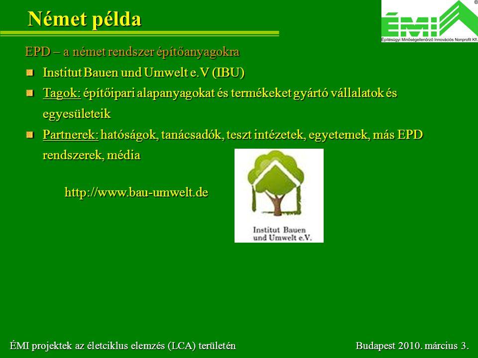 Német példa EPD – a német rendszer építőanyagokra Institut Bauen und Umwelt e.V (IBU) Tagok: építőipari alapanyagokat és termékeket gyártó vállalatok