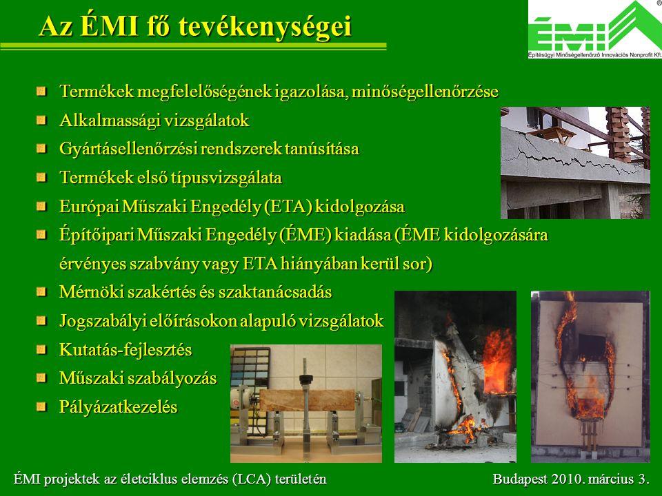 Az ÉMI fő tevékenységei Termékek megfelelőségének igazolása, minőségellenőrzése Alkalmassági vizsgálatok Gyártásellenőrzési rendszerek tanúsítása Term