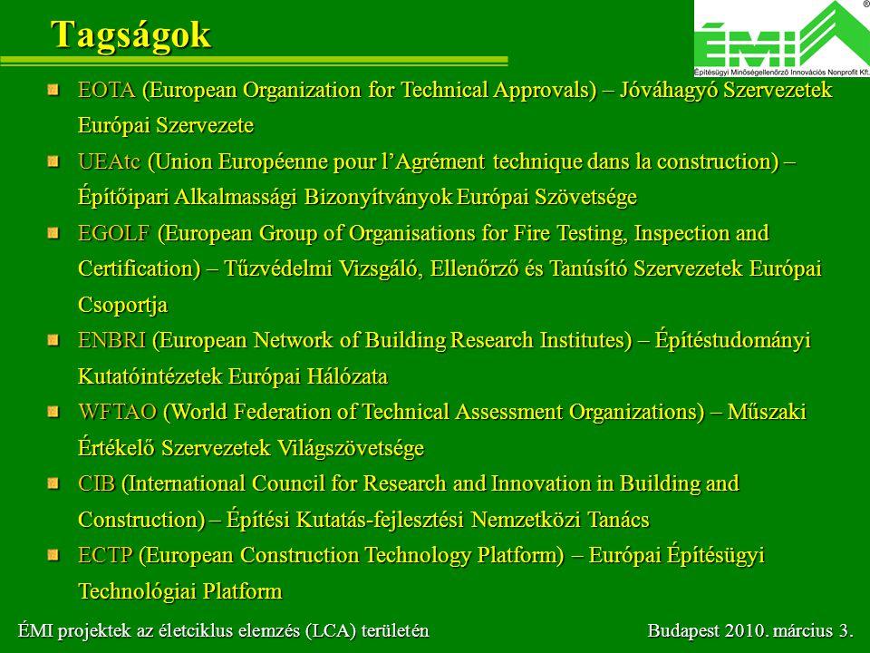 Tagságok EOTA (European Organization for Technical Approvals) – Jóváhagyó Szervezetek Európai Szervezete UEAtc (Union Européenne pour l'Agrément techn