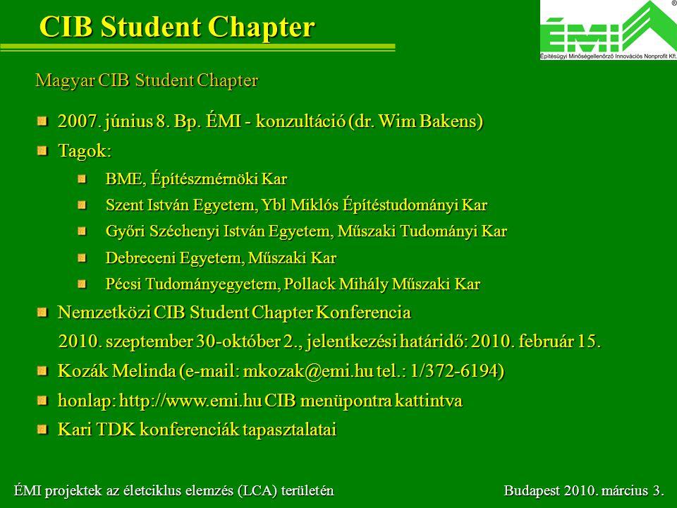 CIB Student Chapter Magyar CIB Student Chapter 2007. június 8. Bp. ÉMI - konzultáció (dr. Wim Bakens) 2007. június 8. Bp. ÉMI - konzultáció (dr. Wim B