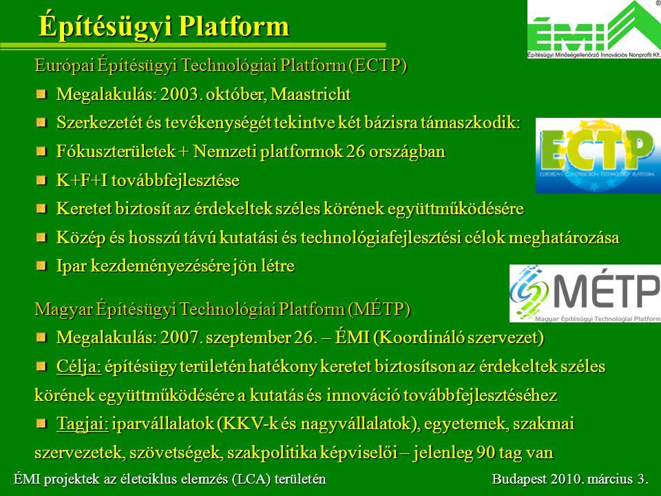 Építésügyi Platform Európai Építésügyi Technológiai Platform (ECTP) Megalakulás: 2003. október, Maastricht Megalakulás: 2003. október, Maastricht Szer