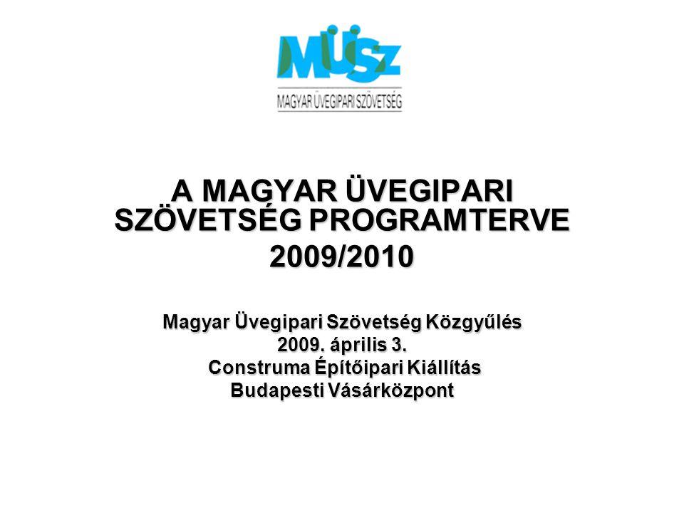 A MAGYAR ÜVEGIPARI SZÖVETSÉG PROGRAMTERVE 2009/2010 Magyar Üvegipari Szövetség Közgyűlés 2009.
