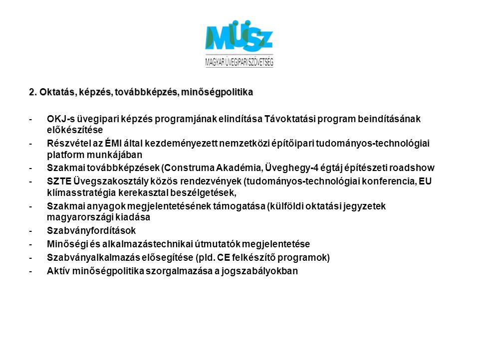 2. Oktatás, képzés, továbbképzés, minőségpolitika -OKJ-s üvegipari képzés programjának elindítása Távoktatási program beindításának előkészítése -Rész