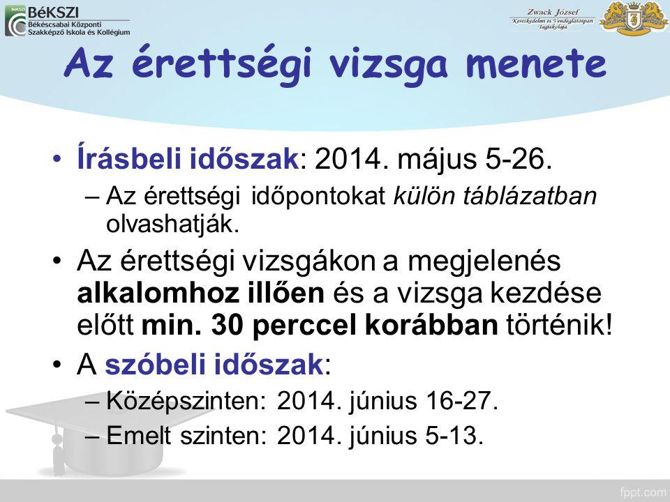 Az érettségi vizsga menete Írásbeli időszak: 2014. május 5-26. –Az érettségi időpontokat külön táblázatban olvashatják. Az érettségi vizsgákon a megje