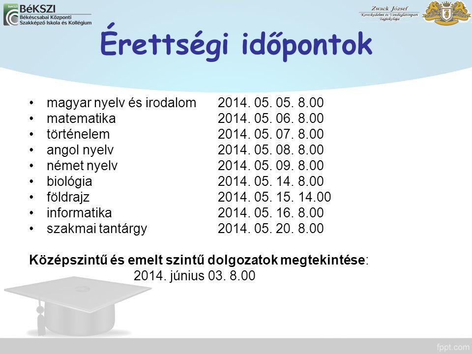 Érettségi időpontok magyar nyelv és irodalom2014. 05. 05. 8.00 matematika2014. 05. 06. 8.00 történelem2014. 05. 07. 8.00 angol nyelv2014. 05. 08. 8.00