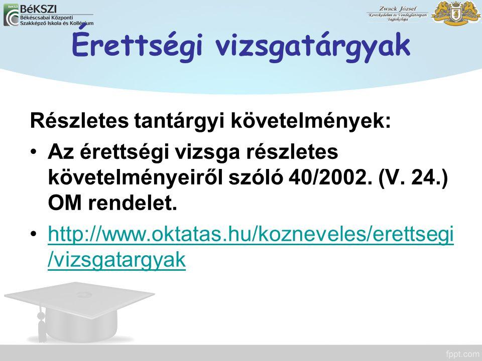 Érettségi vizsgatárgyak Részletes tantárgyi követelmények: Az érettségi vizsga részletes követelményeiről szóló 40/2002. (V. 24.) OM rendelet. http://