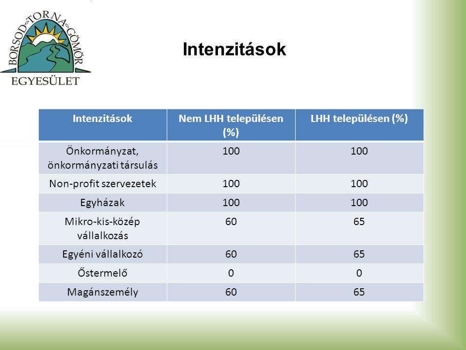 Intenzitások Nem LHH településen (%) LHH településen (%) Önkormányzat, önkormányzati társulás 100 Non-profit szervezetek100 Egyházak100 Mikro-kis-közép vállalkozás 6065 Egyéni vállalkozó6065 Őstermelő00 Magánszemély6065