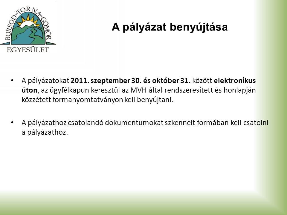 A pályázat benyújtása A pályázatokat 2011. szeptember 30. és október 31. között elektronikus úton, az ügyfélkapun keresztül az MVH által rendszeresíte