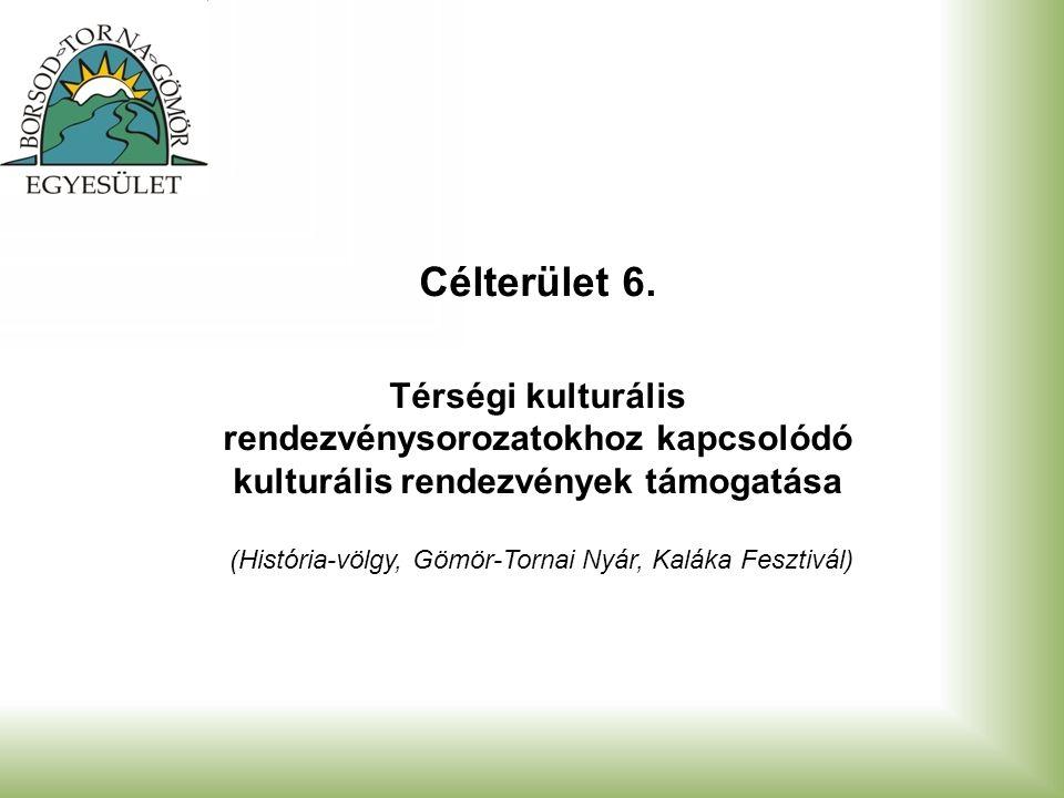 Célterület 6. Térségi kulturális rendezvénysorozatokhoz kapcsolódó kulturális rendezvények támogatása (História-völgy, Gömör-Tornai Nyár, Kaláka Feszt