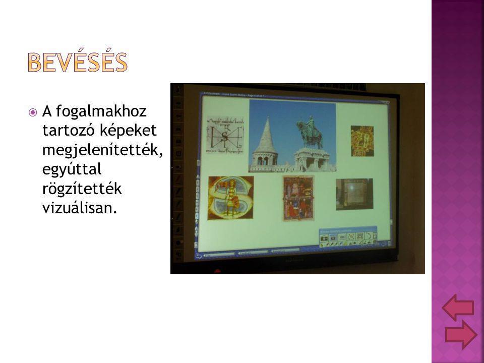  A fogalmakhoz tartozó képeket megjelenítették, egyúttal rögzítették vizuálisan.