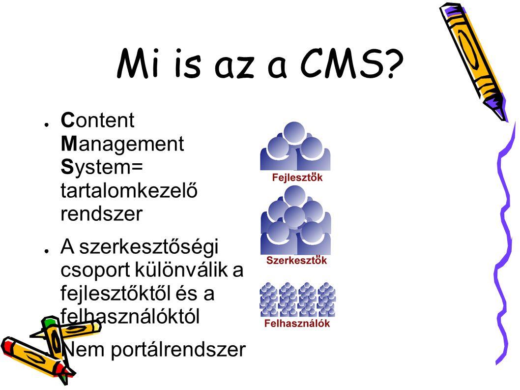Mi is az a CMS? ● Content Management System= tartalomkezelő rendszer ● A szerkesztőségi csoport különválik a fejlesztőktől és a felhasználóktól ● Nem