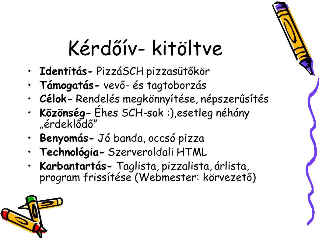 """Kérdőív- kitöltve Identitás- PizzáSCH pizzasütőkör Támogatás- vevő- és tagtoborzás Célok- Rendelés megkönnyítése, népszerűsítés Közönség- Éhes SCH-sok :),esetleg néhány """"érdeklődő Benyomás- Jó banda, occsó pizza Technológia- Szerveroldali HTML Karbantartás- Taglista, pizzalista, árlista, program frissítése (Webmester: körvezető)"""