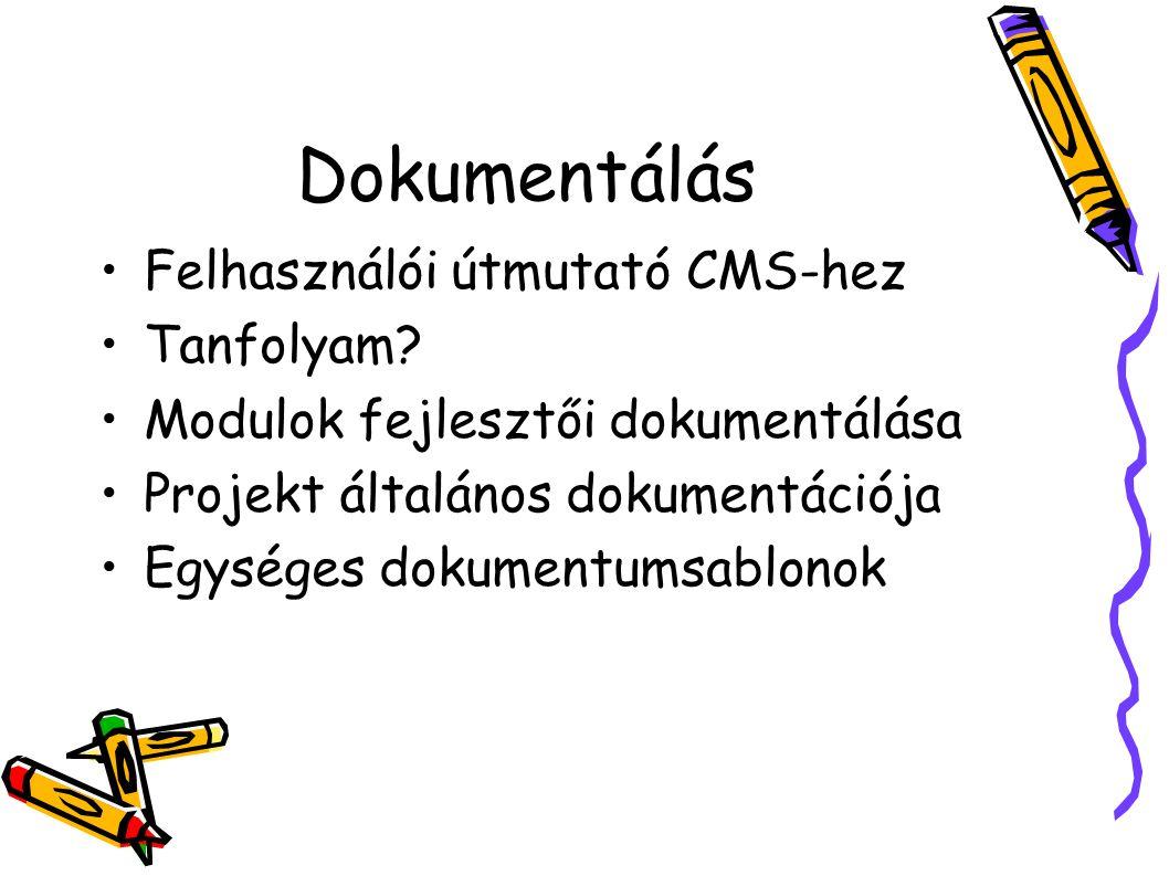 Dokumentálás Felhasználói útmutató CMS-hez Tanfolyam? Modulok fejlesztői dokumentálása Projekt általános dokumentációja Egységes dokumentumsablonok