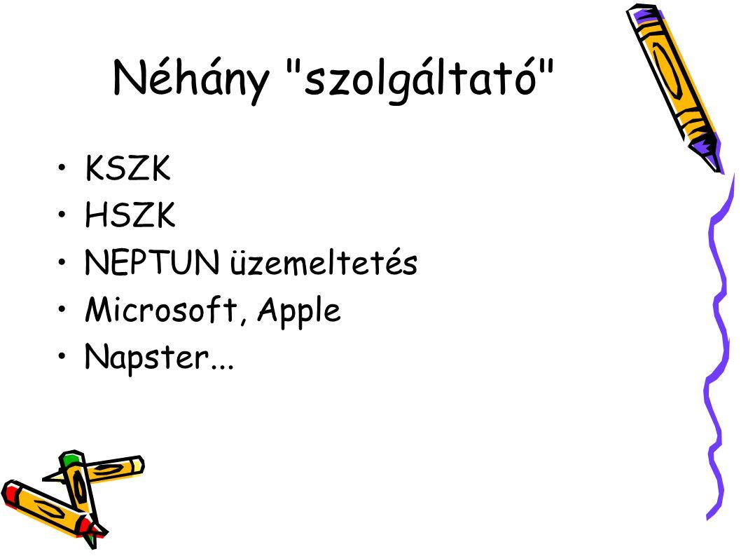 Néhány szolgáltató KSZK HSZK NEPTUN üzemeltetés Microsoft, Apple Napster...