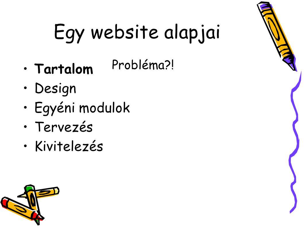 Egy website alapjai Tartalom Design Egyéni modulok Tervezés Kivitelezés Probléma !
