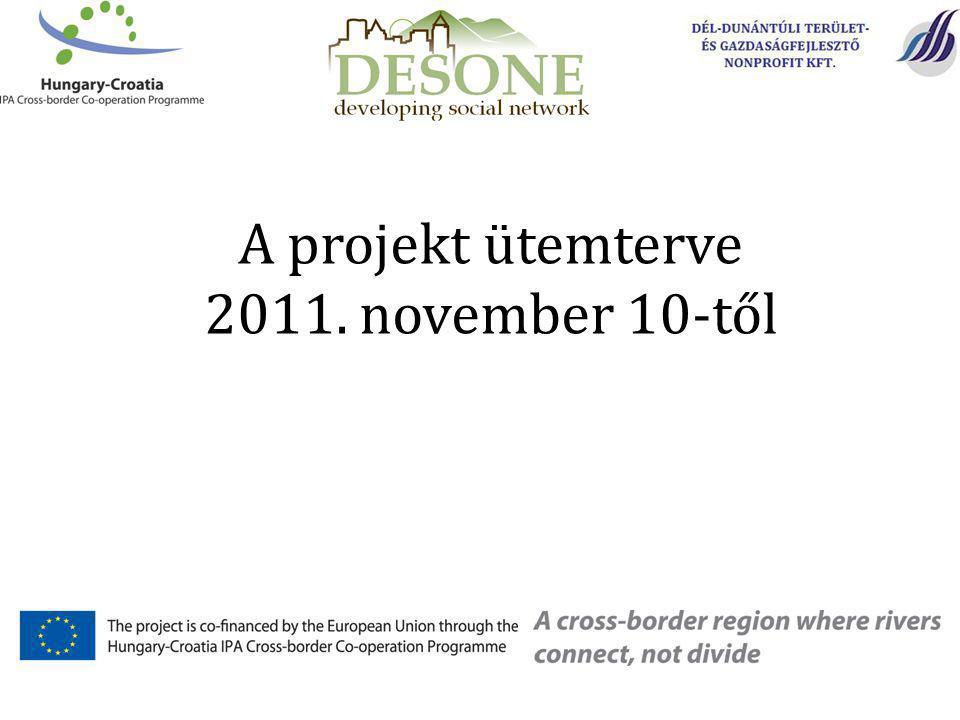 A zárókonferencia és sajtótájékoztató megtartásának tervezett időpontjai Barcson: 2012.