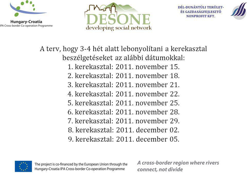 A terv, hogy 3-4 hét alatt lebonyolítani a kerekasztal beszélgetéseket az alábbi dátumokkal: 1.