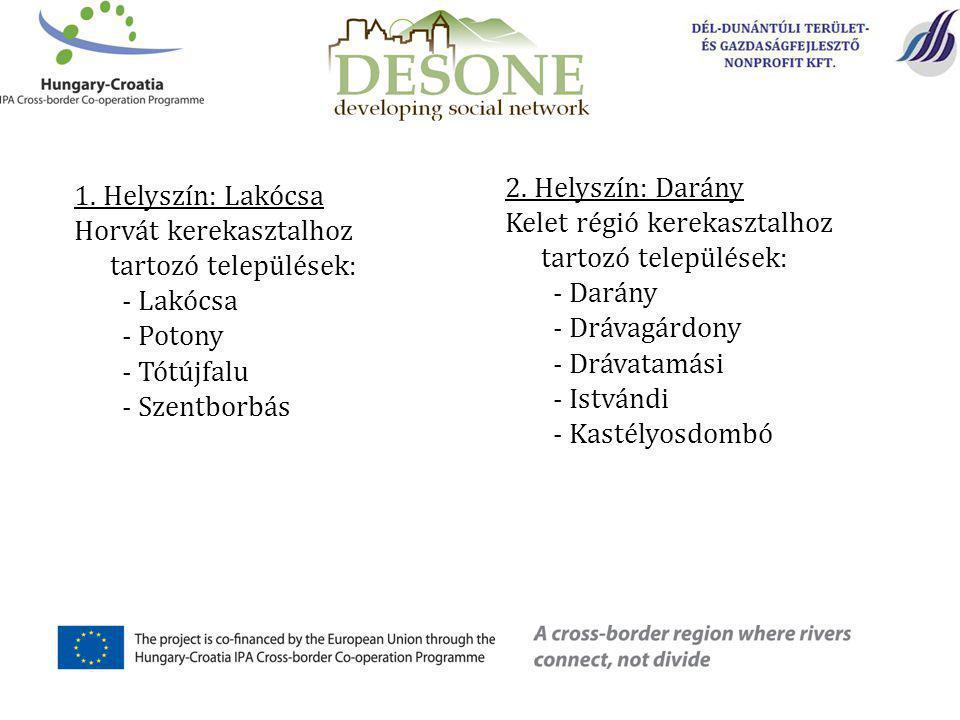 1. Helyszín: Lakócsa Horvát kerekasztalhoz tartozó települések: - Lakócsa - Potony - Tótújfalu - Szentborbás 2. Helyszín: Darány Kelet régió kerekaszt